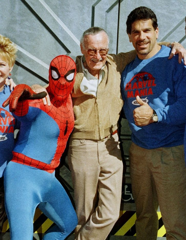 A picture of Marvel legend Stan Lee with Spider man.