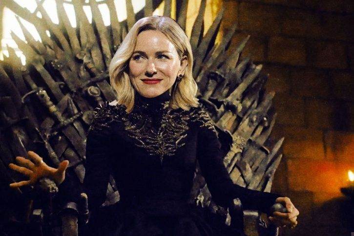 A picture of Naomi Watts sitting on the Iron Throne of Game of Thrones prequel.