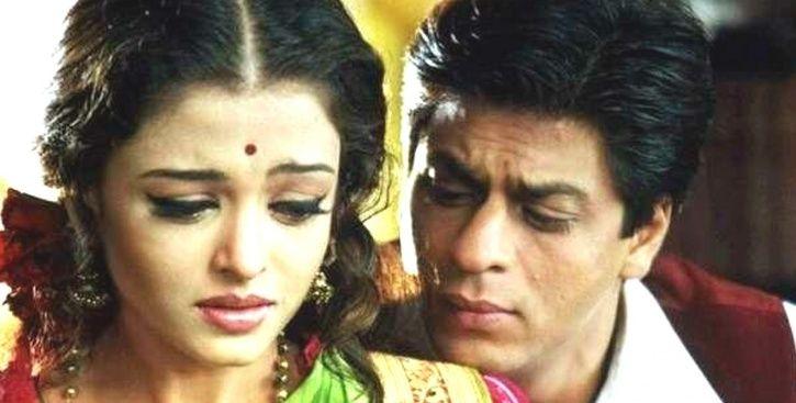 A picture of shah rukh khan and aishwarya rai bachchan from Devdas.