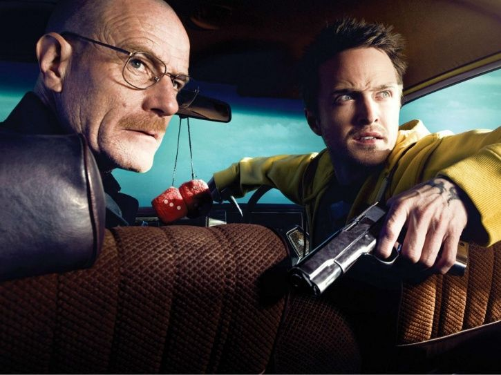 A picture of Walter White AKA Bryan Cranston and Jesse Pinkman AKA Aaron Paul from Breaking Bad.