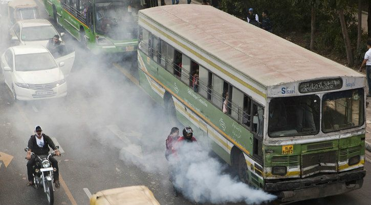 bus exhaust india plastic pollution carbon dioxide
