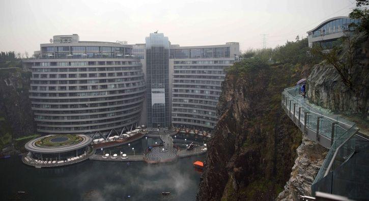 InterContinental Shanghai Wonderland, China, abdandoned quarry, underground, waterfalls, Burj Al Ara