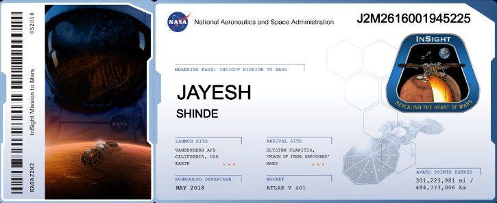 my name on nasa mars insight