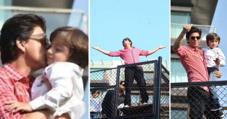 Shah Rukh Khan waves at his fans from Mannat on his birthday.