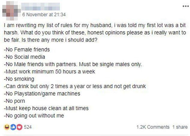 wife sets rule