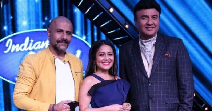 A picture of Anu Malik, Vishal Dadlani and Neha Kakkar from the sets of Indian Idol 10.