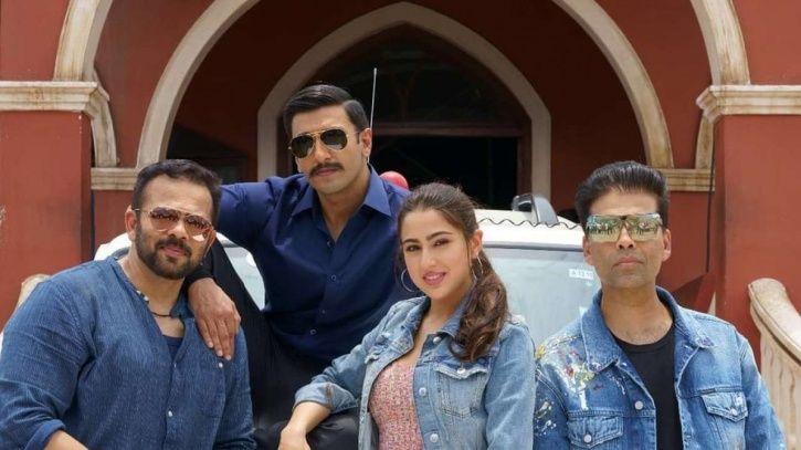 A picture of Rohit Shetty, Ranveer Singh, Sara Ali Khan and Karan Johar from Simmba.