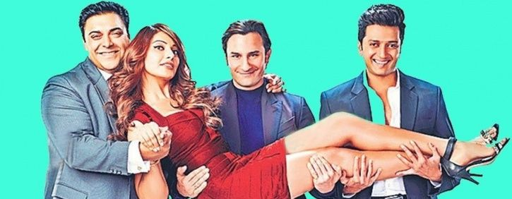 A picture of Saif Ali Khan with the cast of Sajid Khan