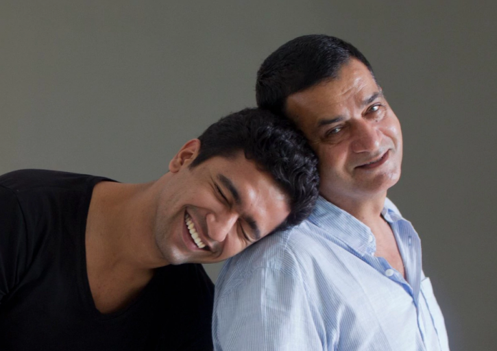 A picture of Vicky Kaushal and his father Sham Kaushal who has been accused of sexual harassment.