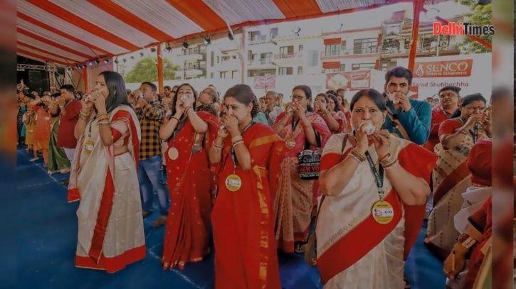 Durga puja, gurugram, pandal, Bangiya Parishad, conch shells, Guinness World Record