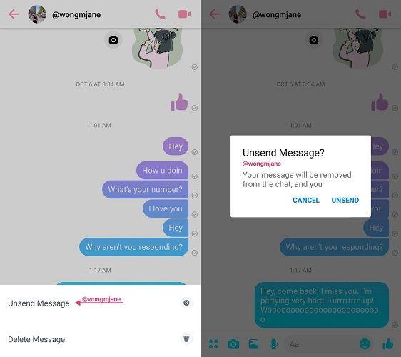 Facebook Messenger Unsend