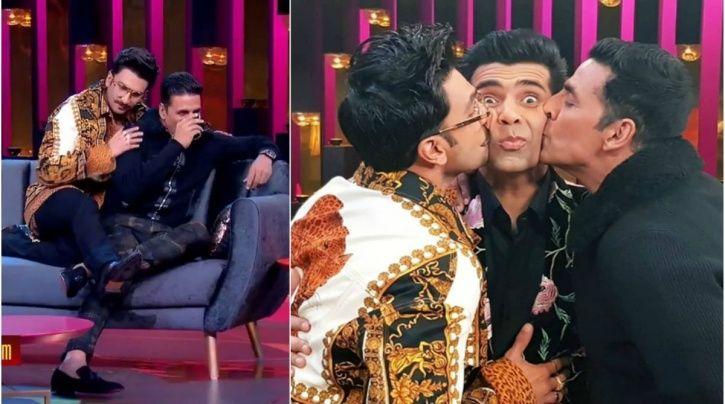 Ranveer Singh and Akshay Kumar with Karan Johar on Koffee With Karan.