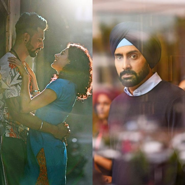A picture of Abishek Bachchan in turban for Manmarziyaan and Taapsee Pannu and Vicky Kaushal.