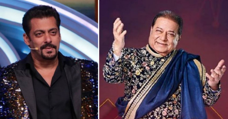 A picture of Salman Khan and Anup Jalota.