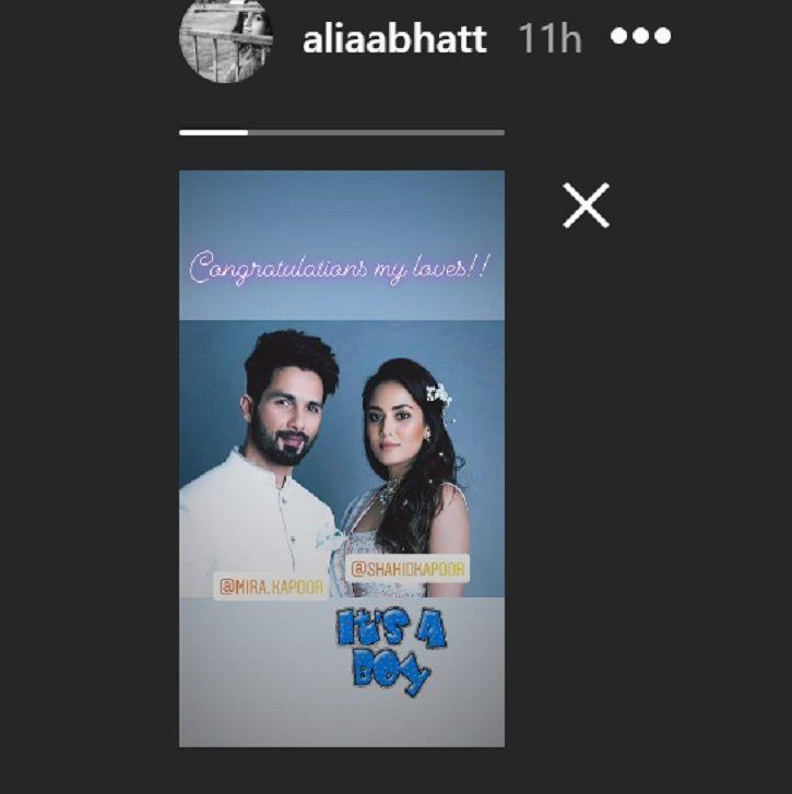 Alia Bhatt wishes Shahid Kapoor and Mira Rajput.