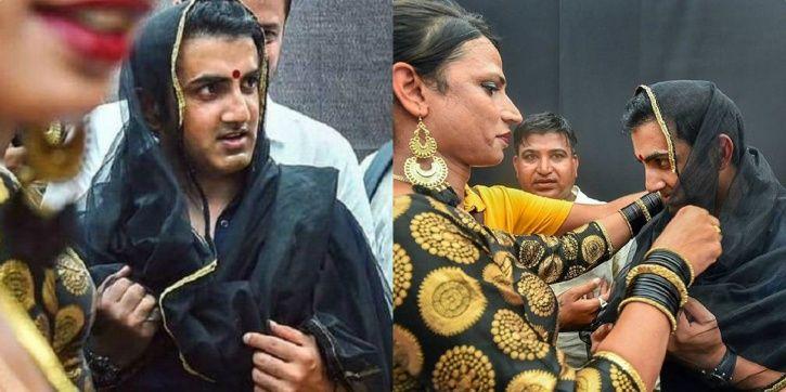 Gautam Gambhir dressed up as a woman