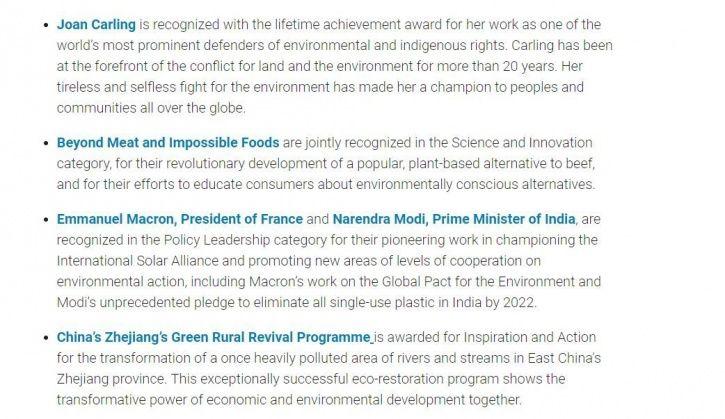Modi, UN, champions of earth
