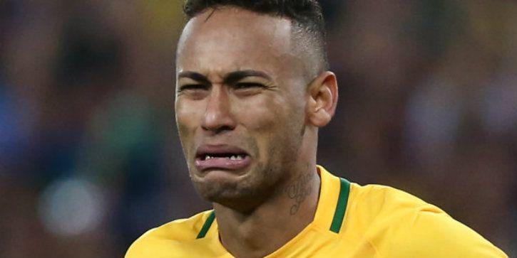 superstar neymar crying white hair beard brazil lost soccer match fifa world cup 2018 football