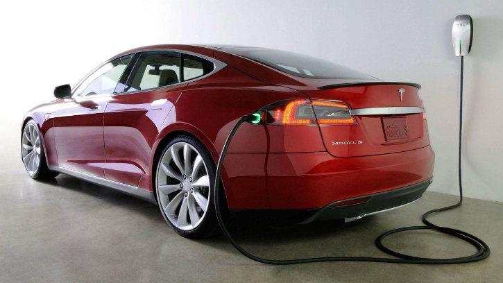tesla model s charging station electric car
