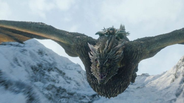 A picture of Kit Harington riding a dragon.