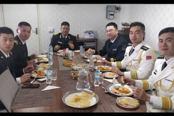 Chinese Naval Officers enjoy chole bhature