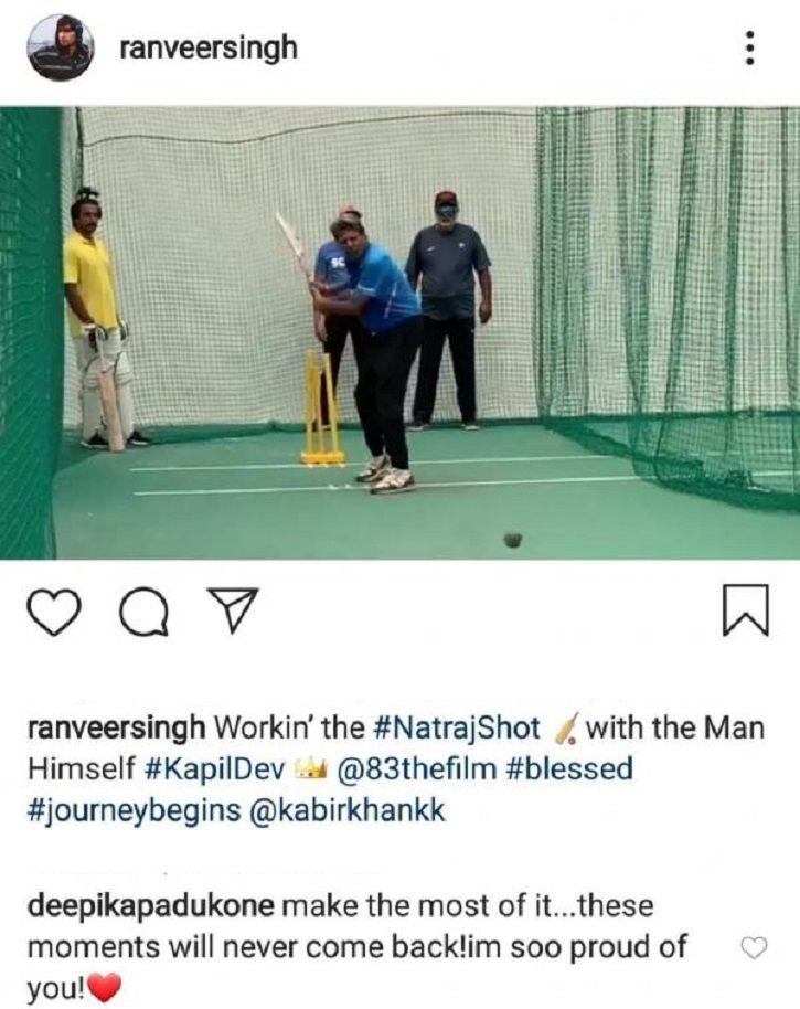 Deepika Padukone is in awe as Ranveer Singh trains with Kapil Dev for biopic titled 83.
