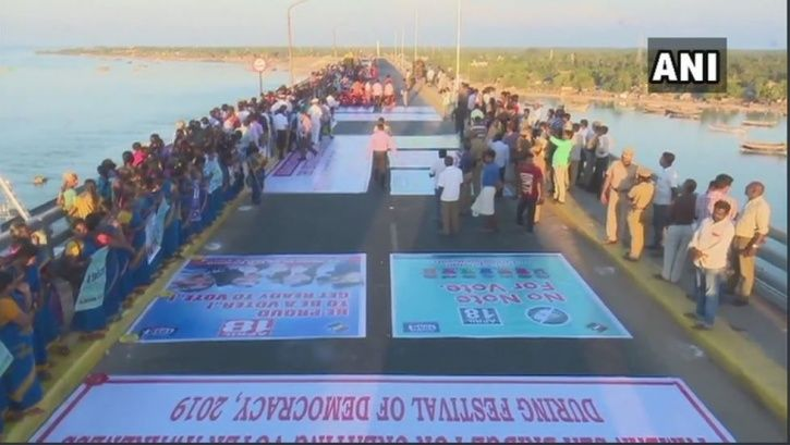 Human Chain, Tamil Nadu, Rameswaram, Pamban bridge, elections, voting