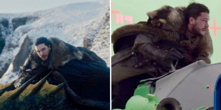 Kit Harington behind-the-scenes footage of riding a drogon.