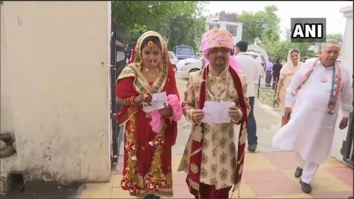Lok Sabha elections, Jammu and Kashmir, Udhampur, bride, groom, voting, elderly couple