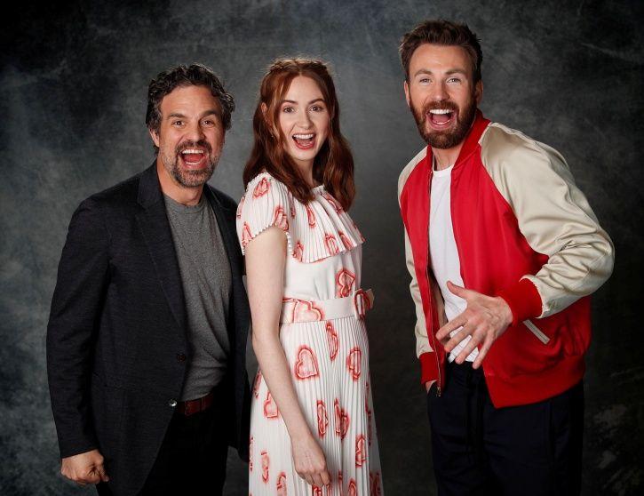 Mark Ruffalo, Gillan and Chris Evans pose ahead of Avengers: Endgame release.
