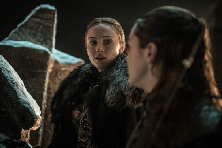 Sansa and Arya at the battle of winterfell in Game of Thrones season 8 episode 3.