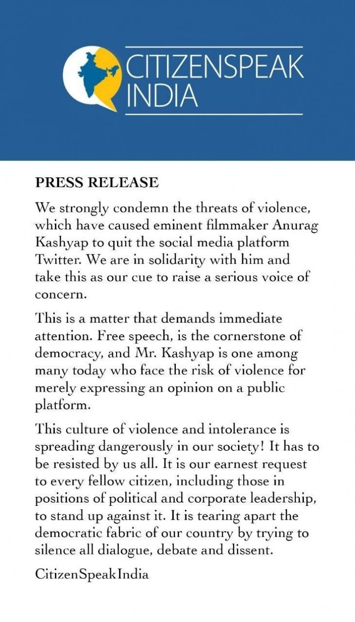 28 Celebs Stand In Support Of Anurag Kashyap, Write Open Letter Condemning Threats Of Violence