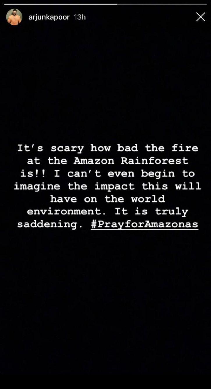 Arjun Kapoor sends prayer for Amazon rainforest fire.