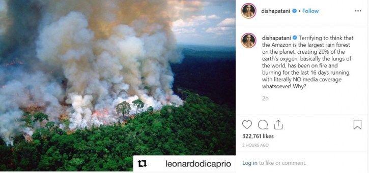 Disha Patani on Amazon rainforest fire.