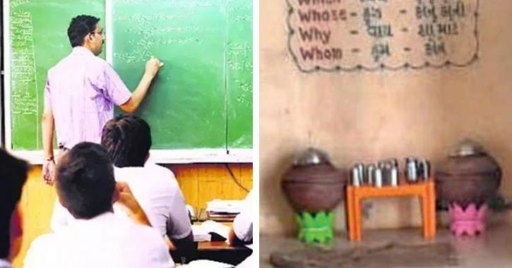 Green color stand - Upper Caste & Pink Stand - Dalit teacher