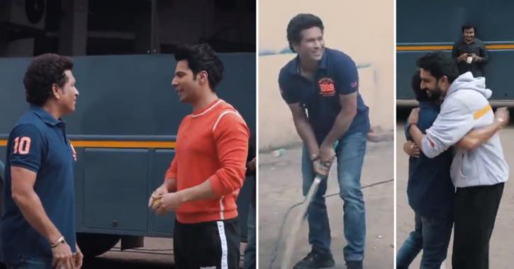 Sachin Tendulkar playing gully cricket with Abhishek Bachchan and Varun Dhawan is fun to watch.