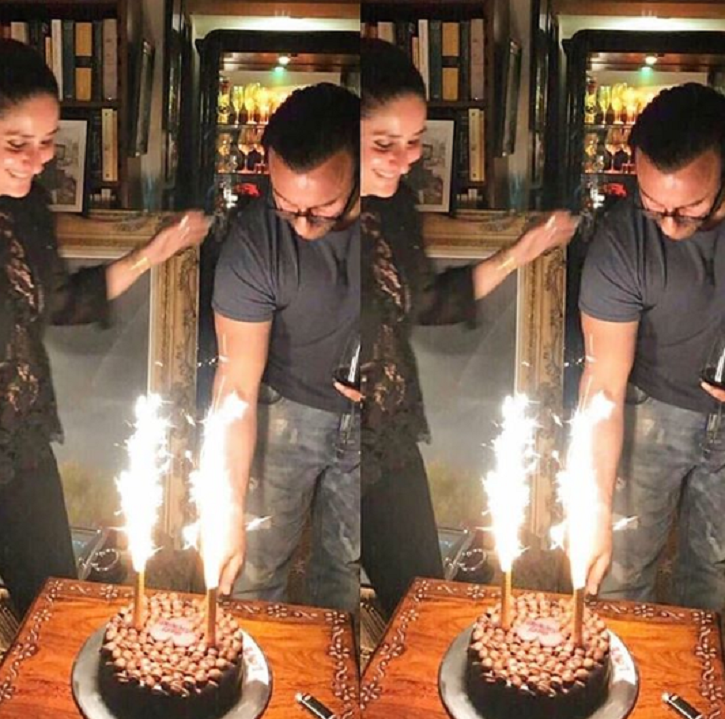 Saif and Kareena celebrate his birthday, cut cake with smiling faces.
