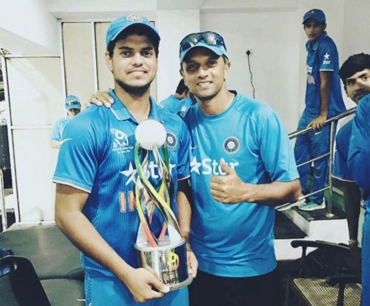 Salman Khan with India batting legend Rahul Dravid after 2016 Under-19 Asia Cup title win