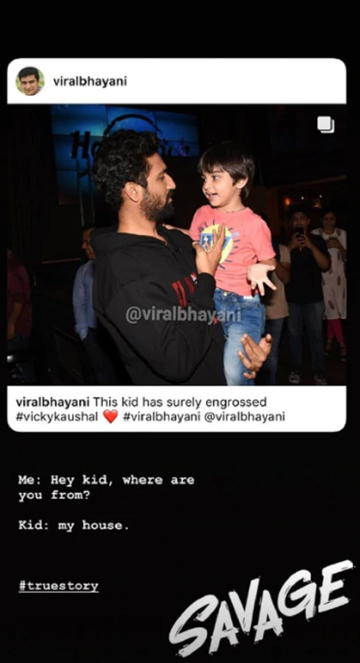 Vicky Kaushal, the national-award winning actor, cuddled his little fan.