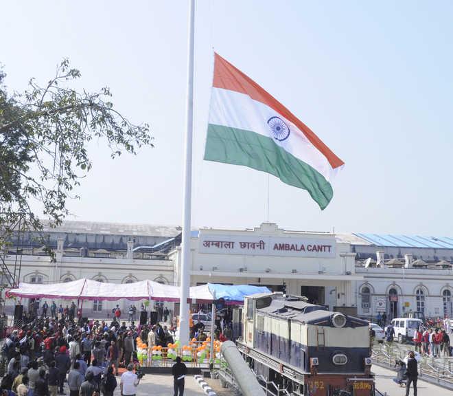 Ambala cantt railway station, beautification programme, 100 ft national flag, Ratan Lal Kataria