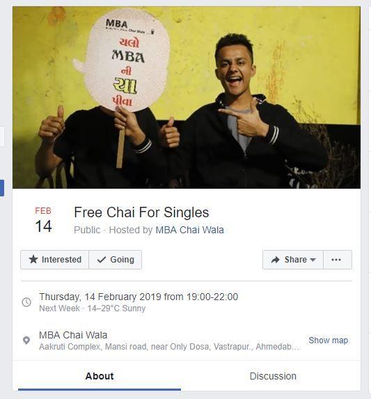 free chai, MBA Chai Wala, Ahmedabad, Prafull Billore, Valentine