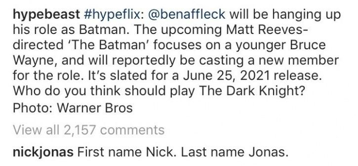 Nick Jonas Says He Wants To Replace Ben Affleck As Batman & Fans Can't Stop Laughing At This