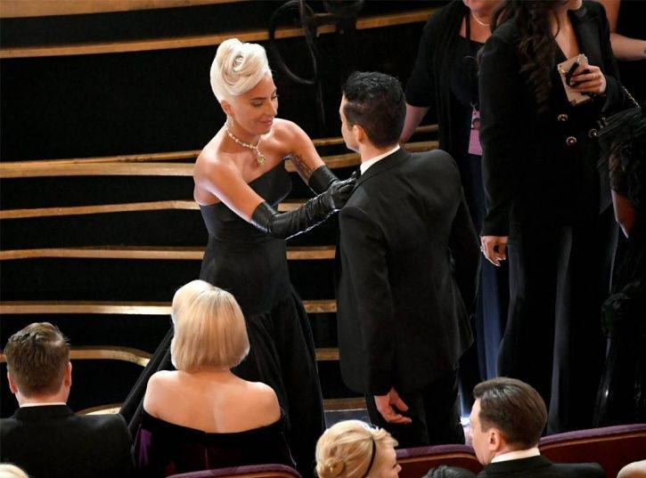 Oscars 2019: Lady Gaga fixed Rami Malek's bow tie before they settled into their seats at Dolby Thea