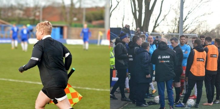 The kit-lady became the linesman