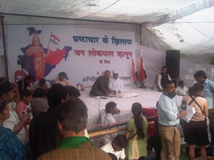 13 years of Rang De Basanti: Anna Hazare protesting at Jantar Mantar for lokpal bill.