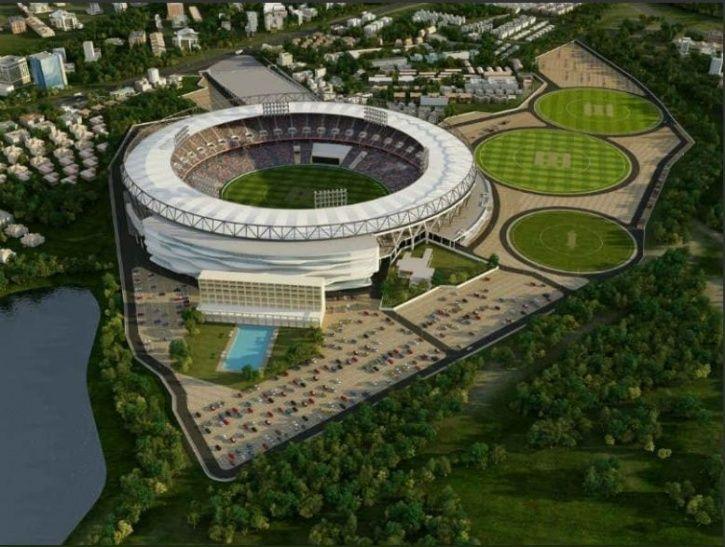 Ahmedabad cricket stadium, motera,Parimal Nathwani,  M/s. Populous, Olympic size swimming pool,