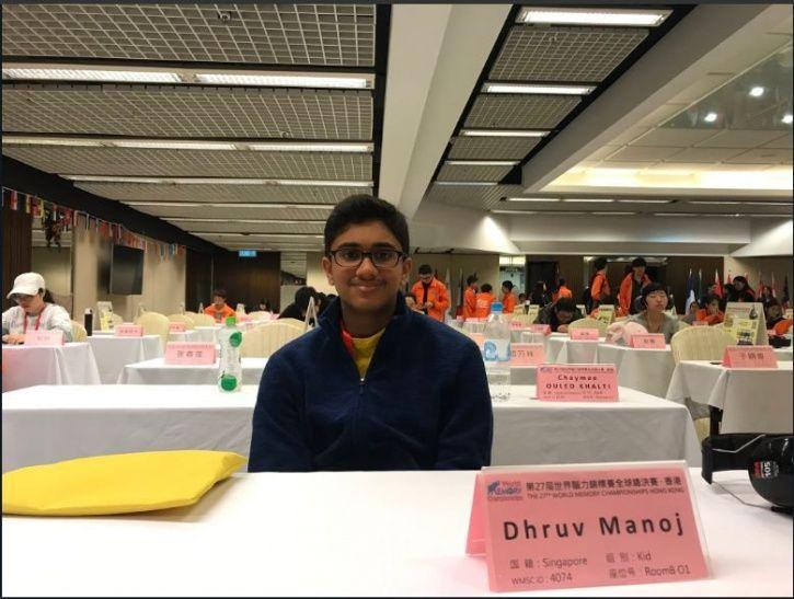 Dhruv Manoj, Indian origin champion, Singapore, Hong Kong, World Memory Championship
