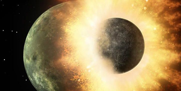 earth impacting the mystery planet for life to evolve