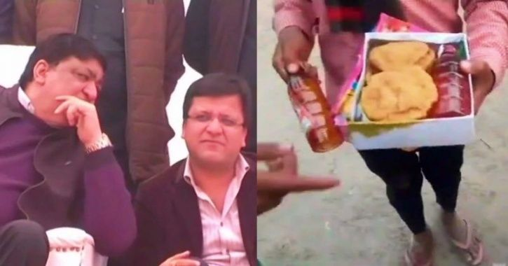 Food Packets With Liquor Bottles Inside Were Distributed At UP BJP Minister's Temple Event