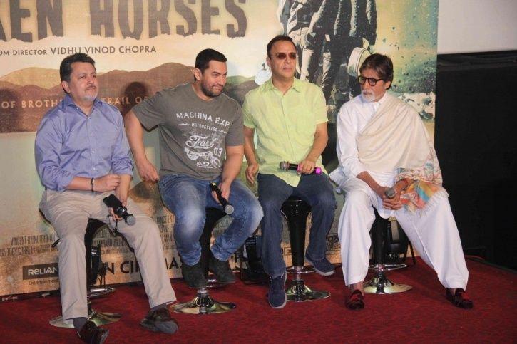 Vidhu Vinod Chopra with Aamir Khan and Amitabh Bachchan.